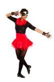 Teenage Tap Dancer. African American Teen Tap Dancer in Black and Red Recital Costume stock image
