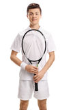 Teenage tennis player holding a racket. Isolated on white background Stock Image