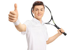 Teenage tennis player making a thumb up sign Stock Photography