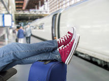 Teenage train passenger Stock Image