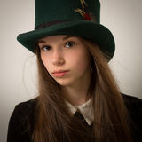 Teenage Victorian Girl With Very Long Hair And A Top Hat Royalty Free Stock Image