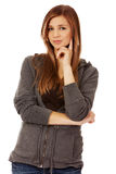 Teenage woman with folded hands Stock Images