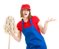 Teenage Worker with Attitude. Teenage worker with a bad attitude, holding a mop. Isolated on white stock photos