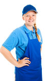 Teenage Worker Hands on Hips Stock Photo