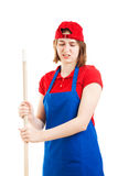 Disgusted Worker Mopping Up Royalty Free Stock Images
