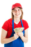 Teenage Worker with Money Stock Photography