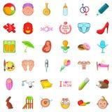 Teenage years icons set, cartoon style. Teenage years icons set. Cartoon set of 36 teenage years vector icons for web isolated on white background Royalty Free Stock Image