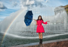 Teenage Young Woman with Umbrella Royalty Free Stock Images