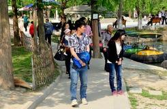Pengzhou, China: Teens Walking in Park Stock Photo