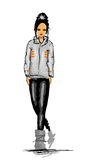 Teenager. Fashion illustration of a black-haired teenage girl Royalty Free Stock Photo