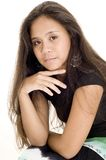 Teenager 17. A serious looking asian teenager in black on white Royalty Free Stock Photos