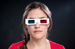 Teenager with 3D glasses watching movie Stock Image