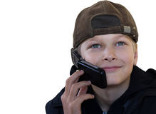 The teenager agrees on the phone. The business teenager agrees on the phone with the friends Royalty Free Stock Images