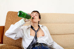 Teenager in Alcohol addiction Royalty Free Stock Photo