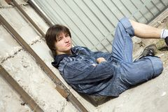 Teenager alone at city. Teens problems Royalty Free Stock Image