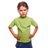 Teenager angry evil girl shows fists experiencing. Anger and anger emotions isolated Stock Images