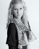 Teenager in Animal Print Scarf Royalty Free Stock Photography