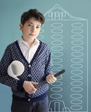 Teenager architect student with house draft ruler and pencil Royalty Free Stock Images