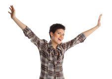 Teenager arms raised Royalty Free Stock Photos