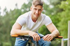 Teenager as cyclist with mountainbike Stock Photos