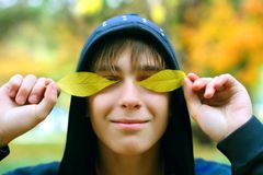 Teenager in the autumn Stock Photography