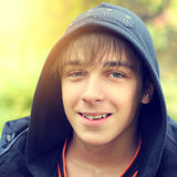 Teenager in the Autumn Park Royalty Free Stock Photography