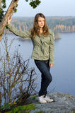 Teenager autumn portrait. Beauty teenager portrait under the autumn trip Royalty Free Stock Photo