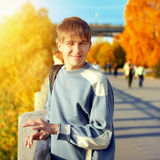 Teenager at Autumn Street Royalty Free Stock Photo