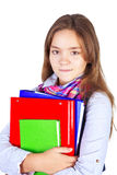 Teenager with backpack and books Stock Photo