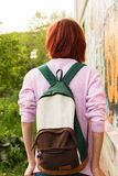 Teenager with a backpack Royalty Free Stock Photo