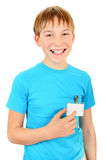 Teenager with a Badge Stock Photography