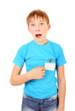 Teenager with a Badge Stock Images