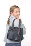 Teenager with a bag. Beautiful girl with a bag Stock Photos