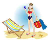 Teenager at the beach. Happy teenager at the beach Stock Image