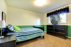 Teenager Bedroom with black and green. Royalty Free Stock Photos