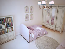 Teenager bedroom with bookcase Stock Photos
