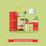 Teenager bedroom interior objects in flat style. Vector illustration. House room design elements and icons Stock Photography