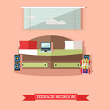 Teenager bedroom interior objects in flat style. Vector illustration. House room design elements and icons Royalty Free Stock Images