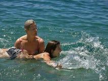 Teenager beginner swimmer royalty free stock image