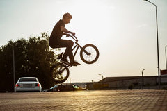Teenager on a bicycle Royalty Free Stock Images