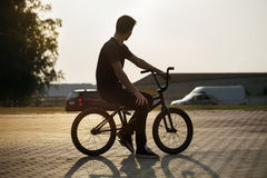 Teenager on a bicycle Royalty Free Stock Image