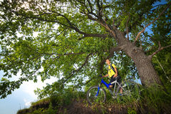 Teenager on a bicycle traveling in the forest Stock Images