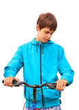 Teenager with Bicycle on White Stock Photos