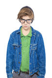 Teenager with big black glasses Stock Images