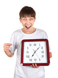 Teenager with Big Clock Stock Photo