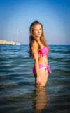 Teenager bikini portrait in tropical scenery Royalty Free Stock Photos