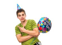 Teenager Birthday Party. Teen having fun. White ba Royalty Free Stock Photo