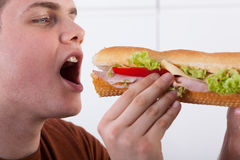 Teenager biting sandwich. Teenager biting submarine sandwich with ham and vegetables Royalty Free Stock Image