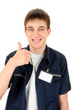 Teenager with a Blank Badge Stock Photos