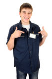 Teenager with a Blank Badge Royalty Free Stock Image